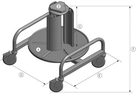 電線内取り式リール(Roll Profi Vario) 寸法図